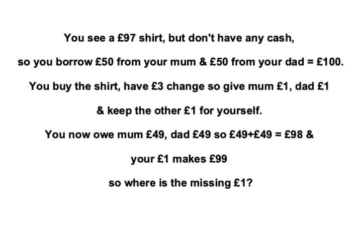 £97 Shirt Riddle Answer