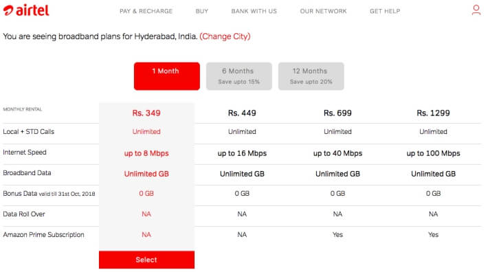 Airtel Offers On FUP Truly Unlimited Plans For broadband