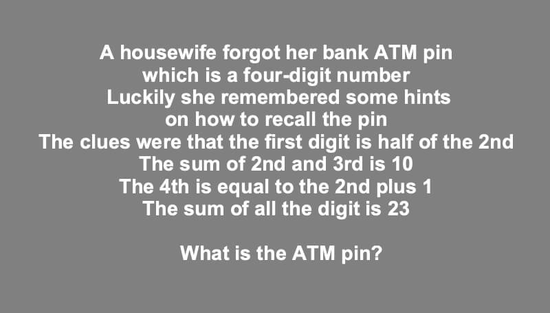 ATM Pin Puzzle Answer
