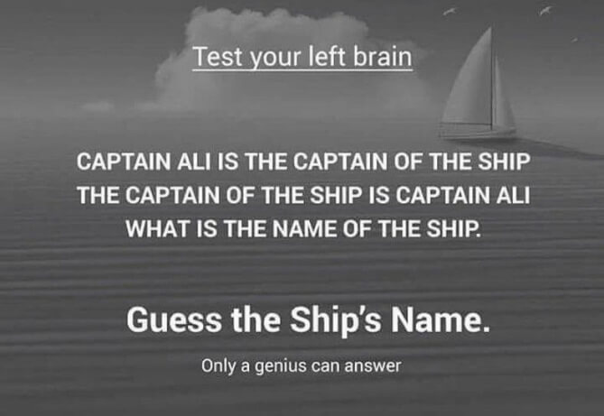 Captain Ali Is The Captain Of The Ship Logic Riddle Answer with Explanation