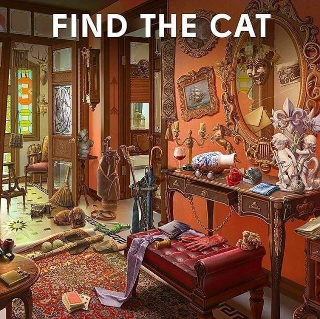 Find The Cat In Room Puzzle Picture