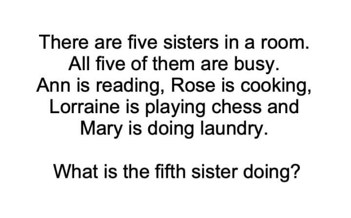 There Are Five Sisters In A Room Riddle