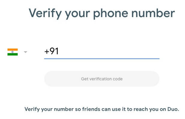 Verify number Google Duo
