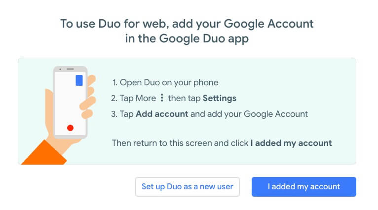 google duo web interface